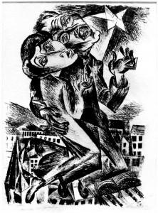 Conrad Felixmüller, Menschen über der Welt, 1919, zum Gedenken an Liebknecht und Luxemburg. Noch bis zum 27. Januar ist dieses Werk in der Ausstellung Wien-Berlin in der Neuen Berlinischen Galerie zu sehen. Es gibt von Felixmüller auch ein Gemälde zum Thema das verschollen ist. Und Felixmüller taucht auch im »Lostart«-Verzeichnis auf.
