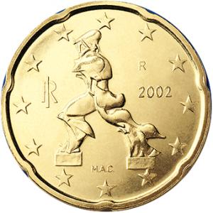 20 Cent-Münze: Boccionis kriegsverherrlichende Skulptur von 1912