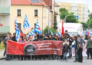 Aktionstag »Deutsche Stimme abschalten« am 21. Juni in Riesa (Sachsen) Foto: W. Girod