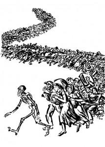 Ebenfalls ein Todestanz-Motiv: Zeichnung aus dem 1941 entstandenen Zyklus »Danse Macabre« des belgisch-französischen Künstlers Frans Masereel (1889 – 1972).