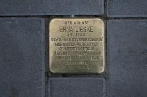 Stolperstein für Erna Lieske - alte Inschrift