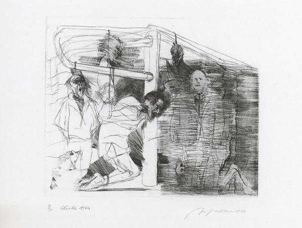 Chile 1974, 505 x 5698 mm, Ätzung, Kaltnadel, Mezzotinto geschabt und Stichel auf Kupfer. Leihgeber der Zyklus-Bilder: Museum Morsbroich Leverkusen