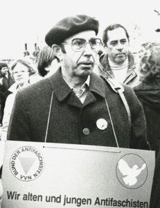 Hans Gasparitsch auf einer Demo in Mössingen am 29.1.1983; Foto: H. Meister