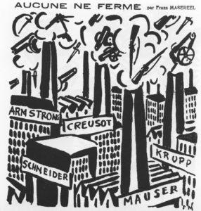 Nahezu 100 Jahre alt und brandaktuell: Die Grafik »Aucune ne ferme« (»Keine schließt«), die der belgische Künstler Frans Masereel am 15.10.1919 veröffentlichte. Bei europäischen Rüstungsindustrien ist schon im ersten Jahr nach dem verheerenden Ersten Weltkrieg wieder mächtig was los. Auch bei den deutschen Verlierern. Arbeit an einer »Sicherheitsarchitektur«? (Aus: Frans Masereel, Bilder gegen den Krieg, Frankfurt/M. 1986)