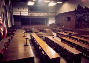 Blick in den Schwurgerichtssaal 600. Quelle: Stadtarchiv Nürnberg, Foto: Ray D′Addario (1946)