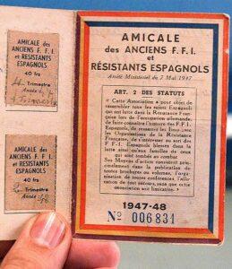 Mitgliedsausweis der Vereinigung der spanischen Widerstandskämpfer in Frankreich.