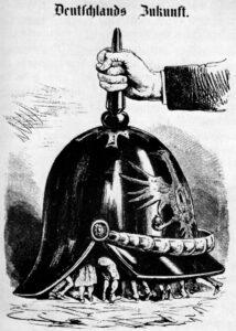 Deutschlands Zukunft, 1870, Karikatur in der österreichischen Satirezeitschrift Kikeriki mit der Bildunterschrift: »Kommt es unter einen Hut? Ich glaube, 's kommt eher unter eine Pickelhaube!«