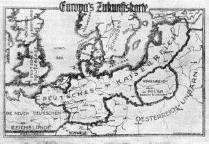 Die Karte stellt die expansionistischen Pläne im Jahr 1915 dar