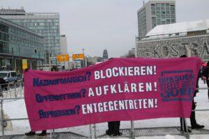 Am 13. Februar in Dresden kamen insgesamt rund 1.000 Gegendemonstrant:innen zusammen