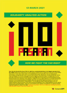 "Plakat zur diesjährigen ""No Pasaran""-Konferenz am 13. März"