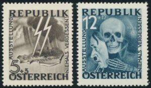 Zwei der Motive wurden von den Besatzungsmächten beanstandet und in letzter Minute ausgetauscht: der Wert zu 5+3 Groschen mit »SS-Blitz über Österreich« und 12+12 Groschen mit »Totenkopf und Hitler-Maske«, ersetzt durch die Darstellungen »Dolch durchbohrt Österreich« und »Hand hinter Stacheldraht«. Diese unverausgabten Raritäten werden heute um 2.600 Euro gehandelt, während der postfrische Sondermarkensatz um wohlfeile 2 Euro zu haben ist.